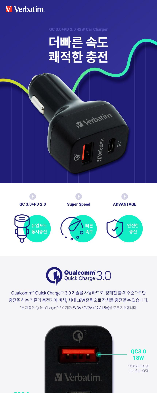 버바팀 퀄컴3.0 PD 2포트 고속 차량용 충전기 - 버바팀, 30,300원, 충전기, 차량용충전기(시거잭)